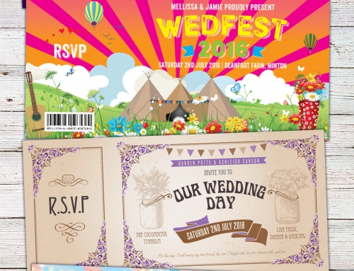 Festival, Boho, Wedfest and Rock N Roll Wedding Invites