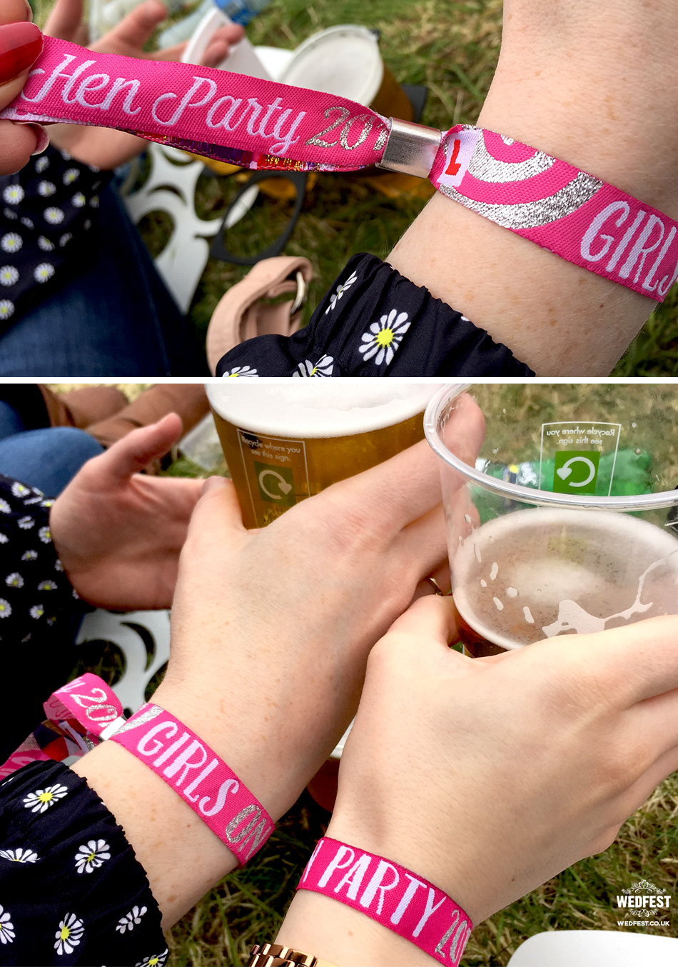 festival girls hen party wristbands
