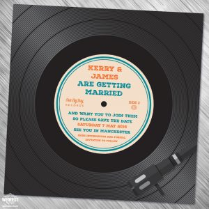 vinyl record wedding save the date