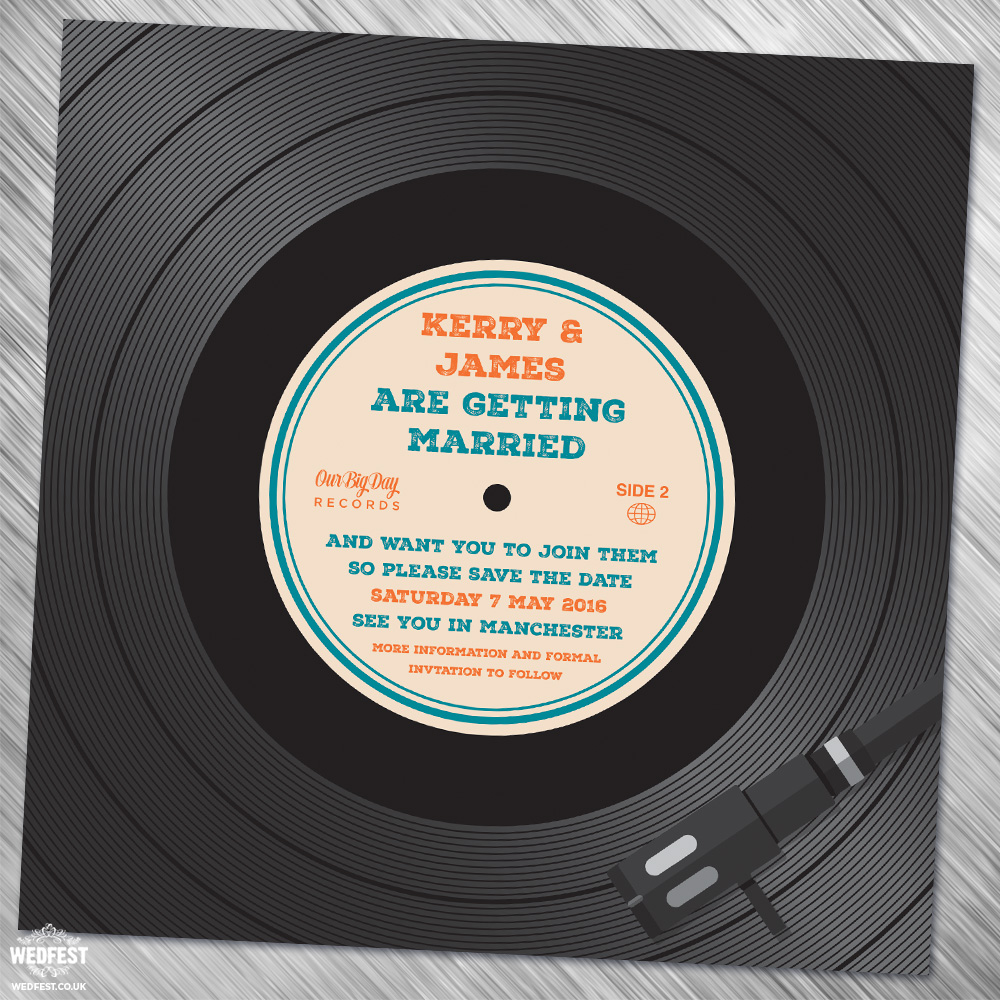 vinyl record wedding save the date