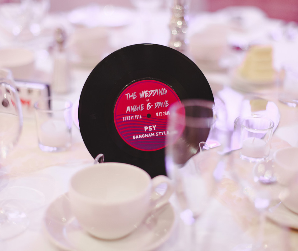 vinyl record wedding table