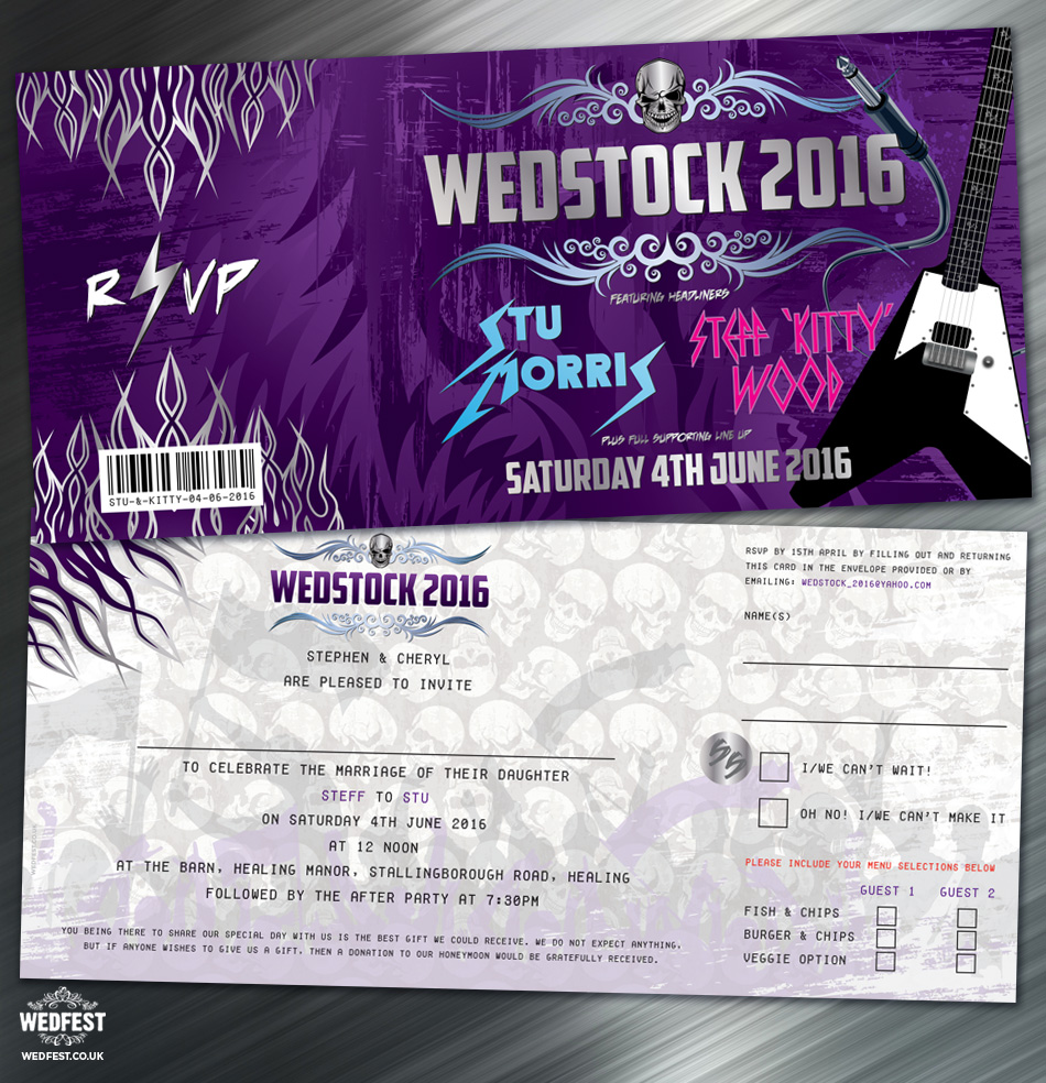 wedstock rock and roll wedding invitations