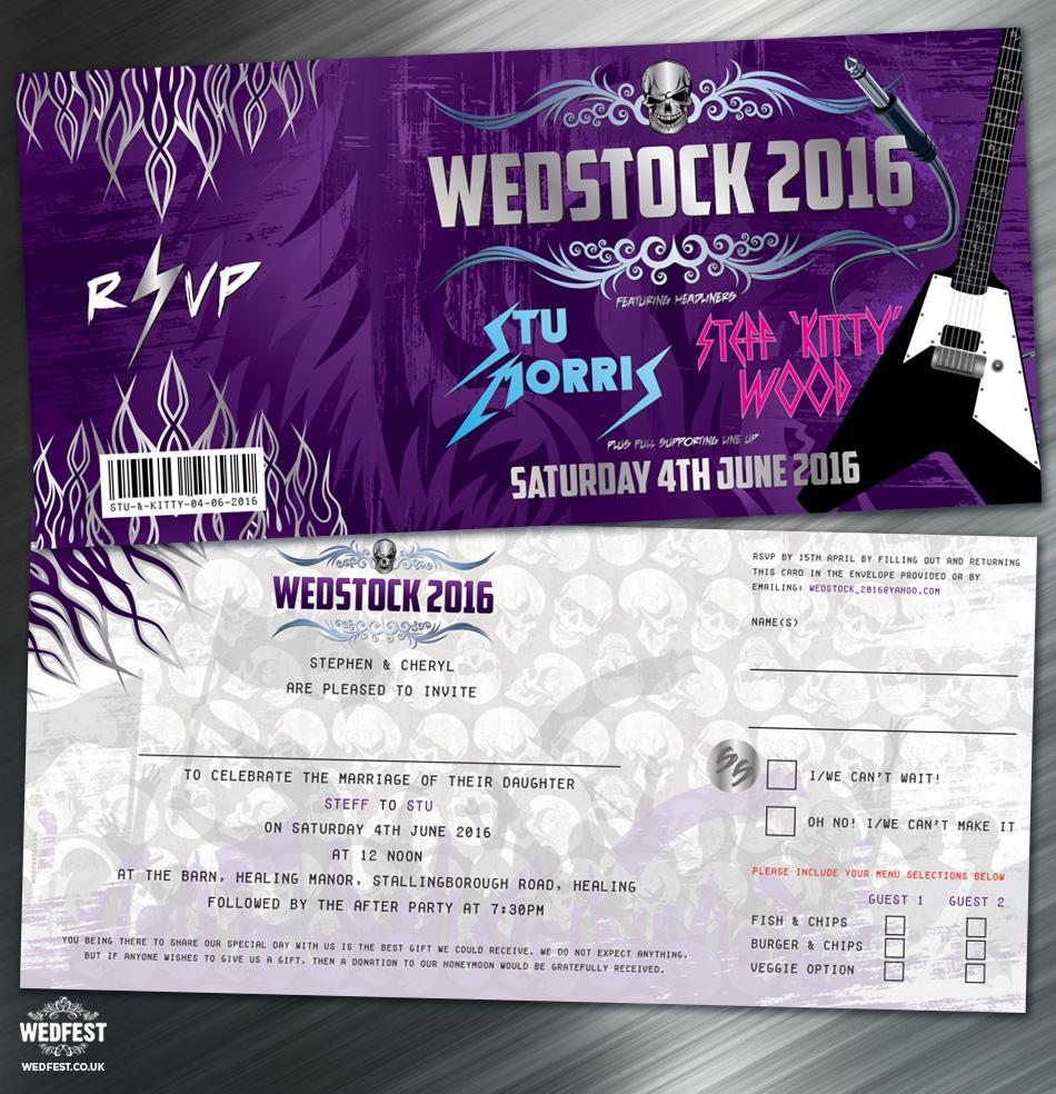 Rolled Wedding Invitations: Kitty & Stu's Heavy Metal Wedstock Wedding