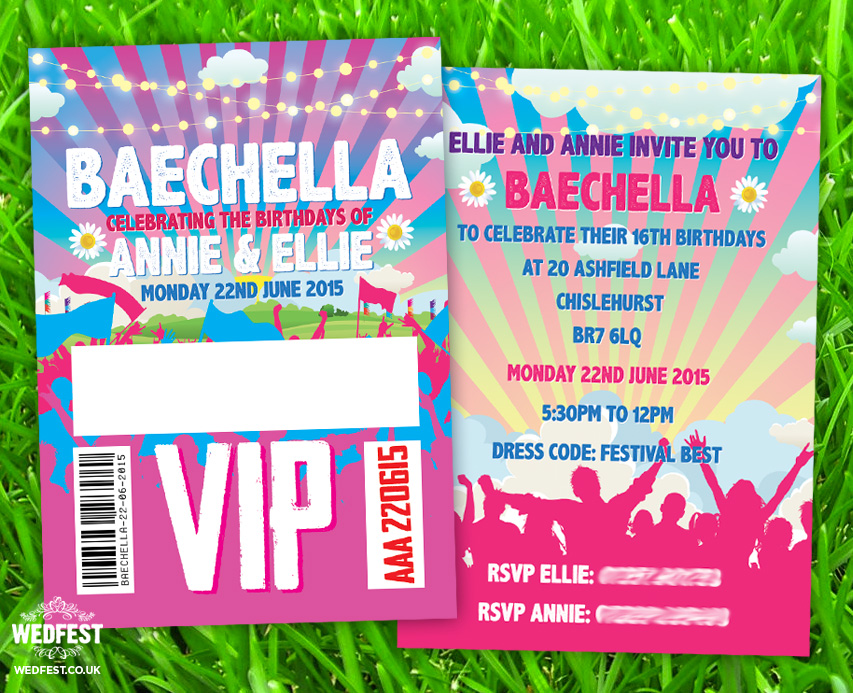baechella festival birthday party invite