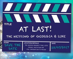 movie wedding clapperboard save the date cards