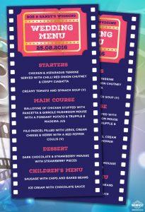 cinema movie themed wedding menu