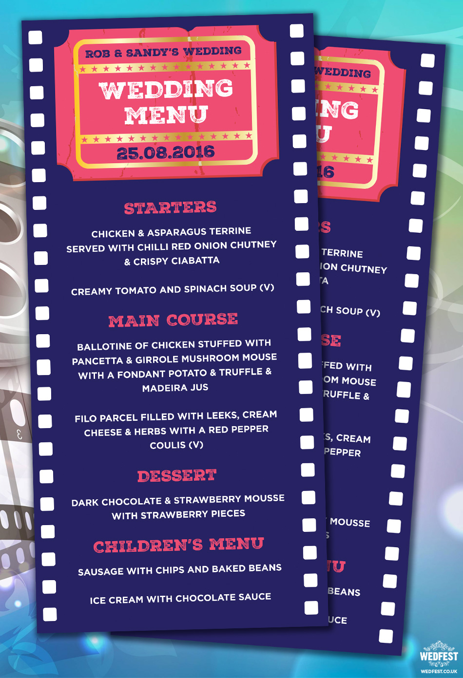 cinema movie themed wedding menu