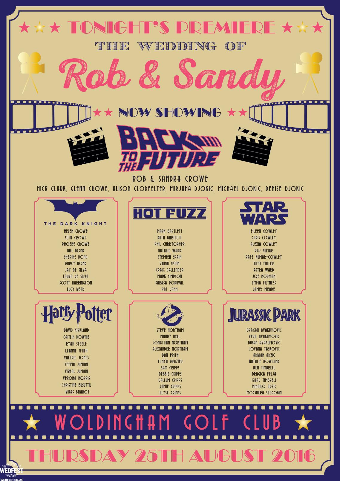 cinema poster movies wedding table plan