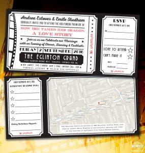cinema ticket wedding invites
