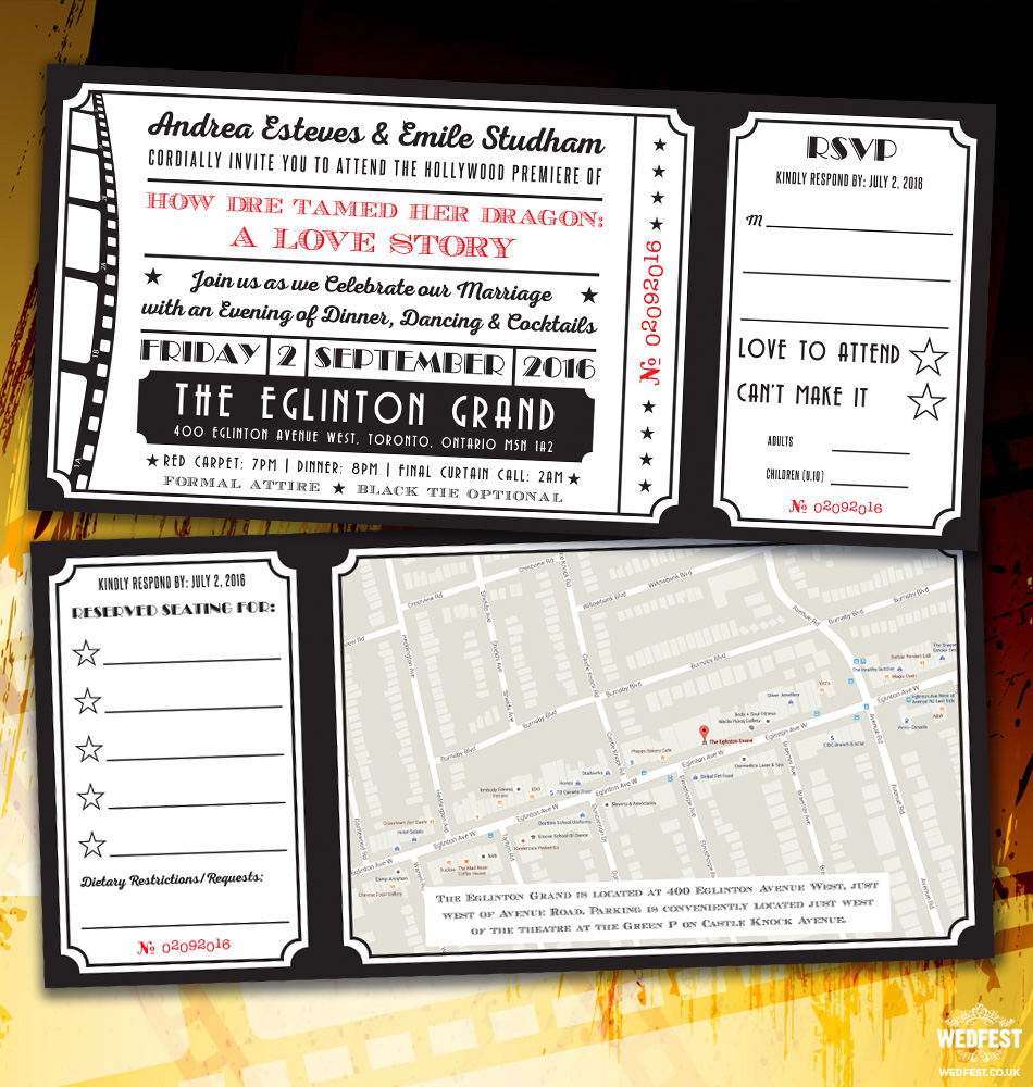 cinema ticket wedding invites