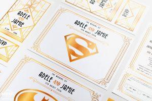 gatsby superhero theme wedding stationery