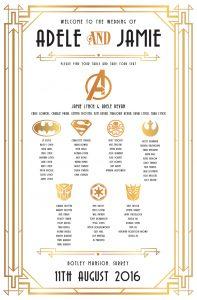 gatsby superhero wedding table seating plan