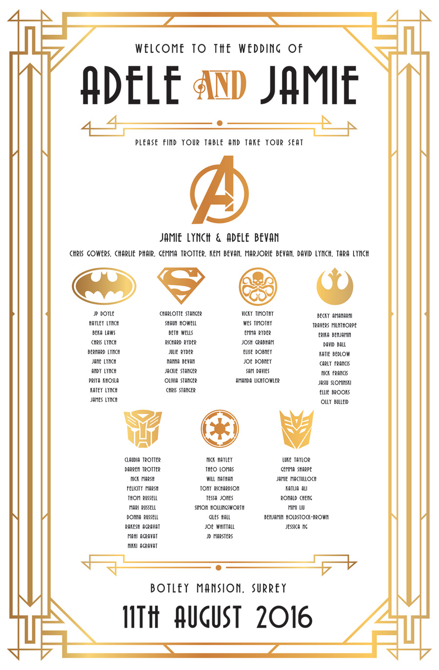 gatsby superhero wedding table seating plan