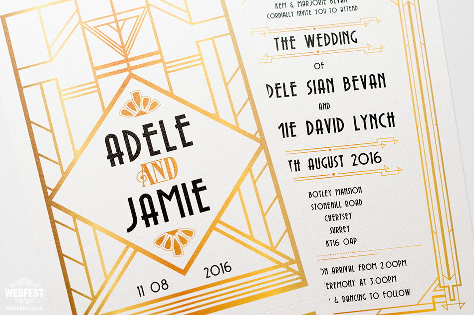 gatsby theme wedding invitations