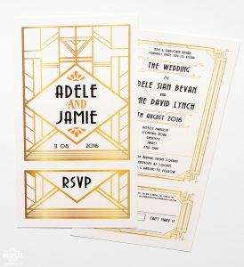 great gatsby theme wedding invites