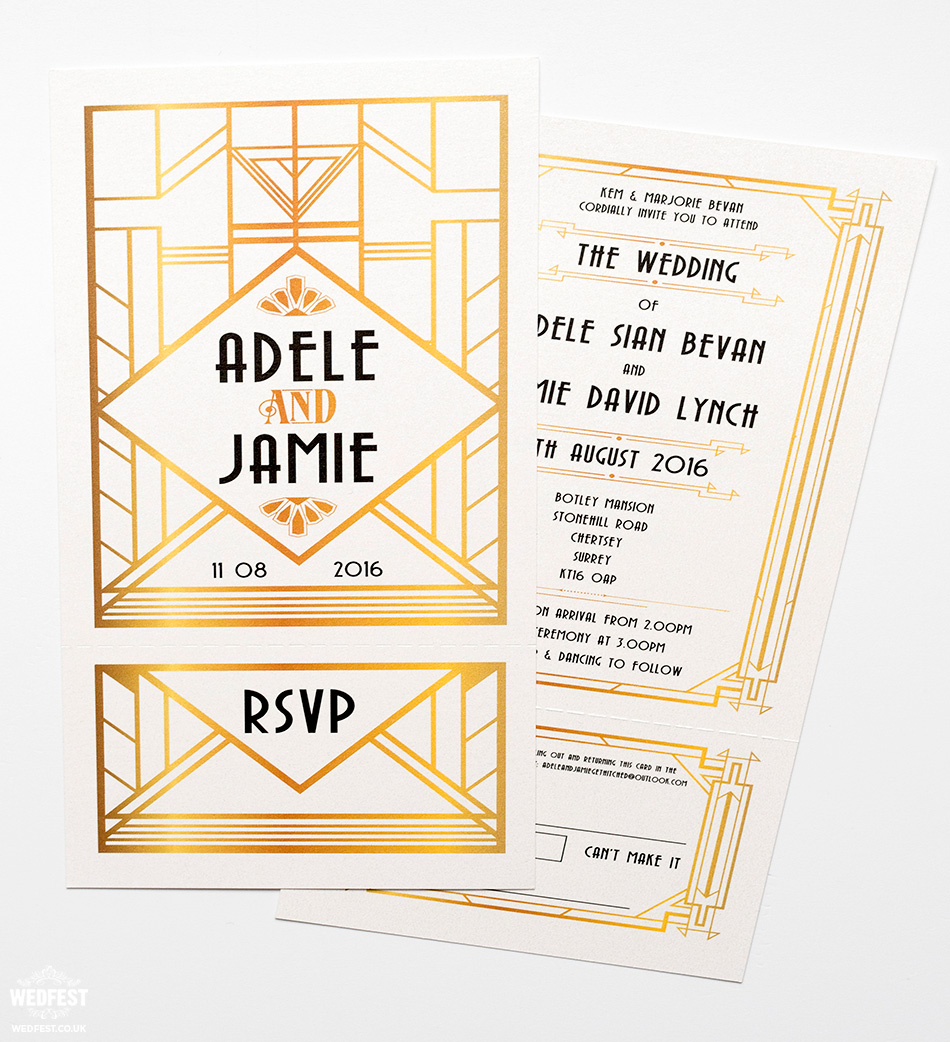 great gatsby theme wedding invites