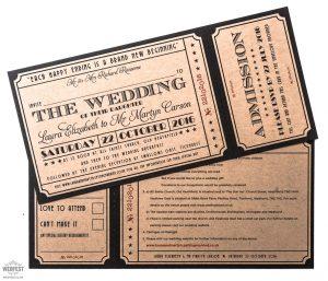 kraft card ticket wedding invitations