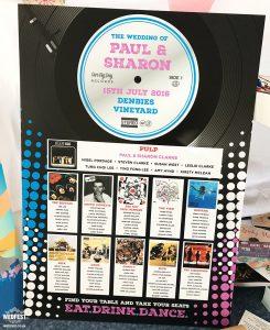 mounted wedding table plan vinyl music theme