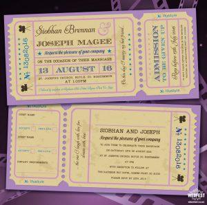 movie cinema ticket wedding invitations