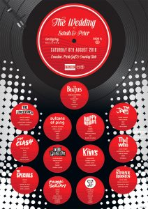 music vinyl record themed wedding seating plan