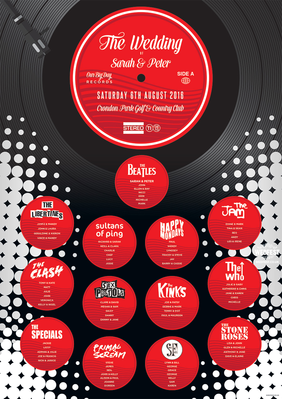 music vinyl record themed wedding seating plan