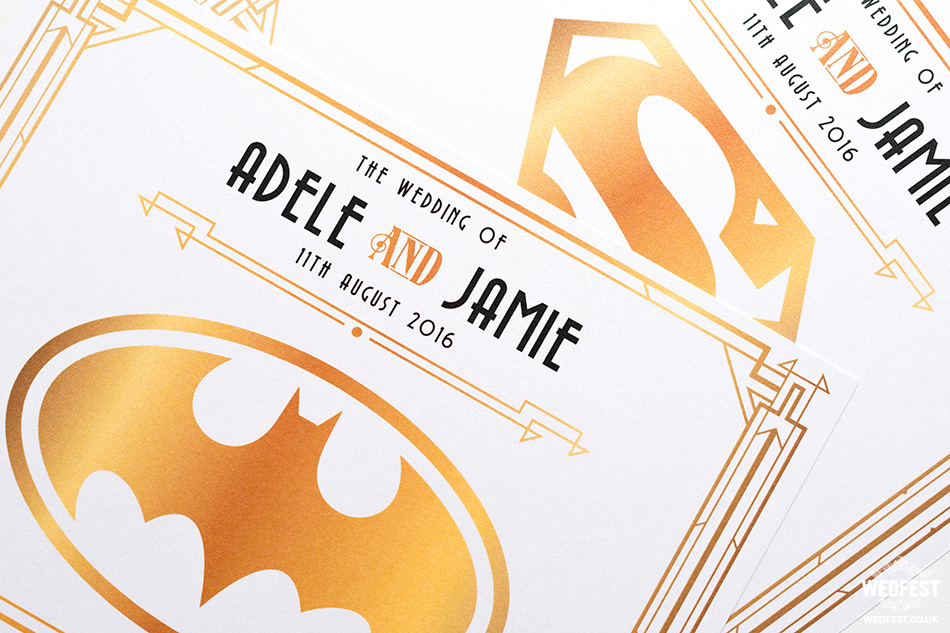 superhero wedding table name cards