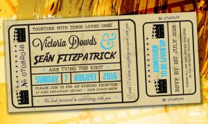 vintage movie cinema ticket wedding invitations