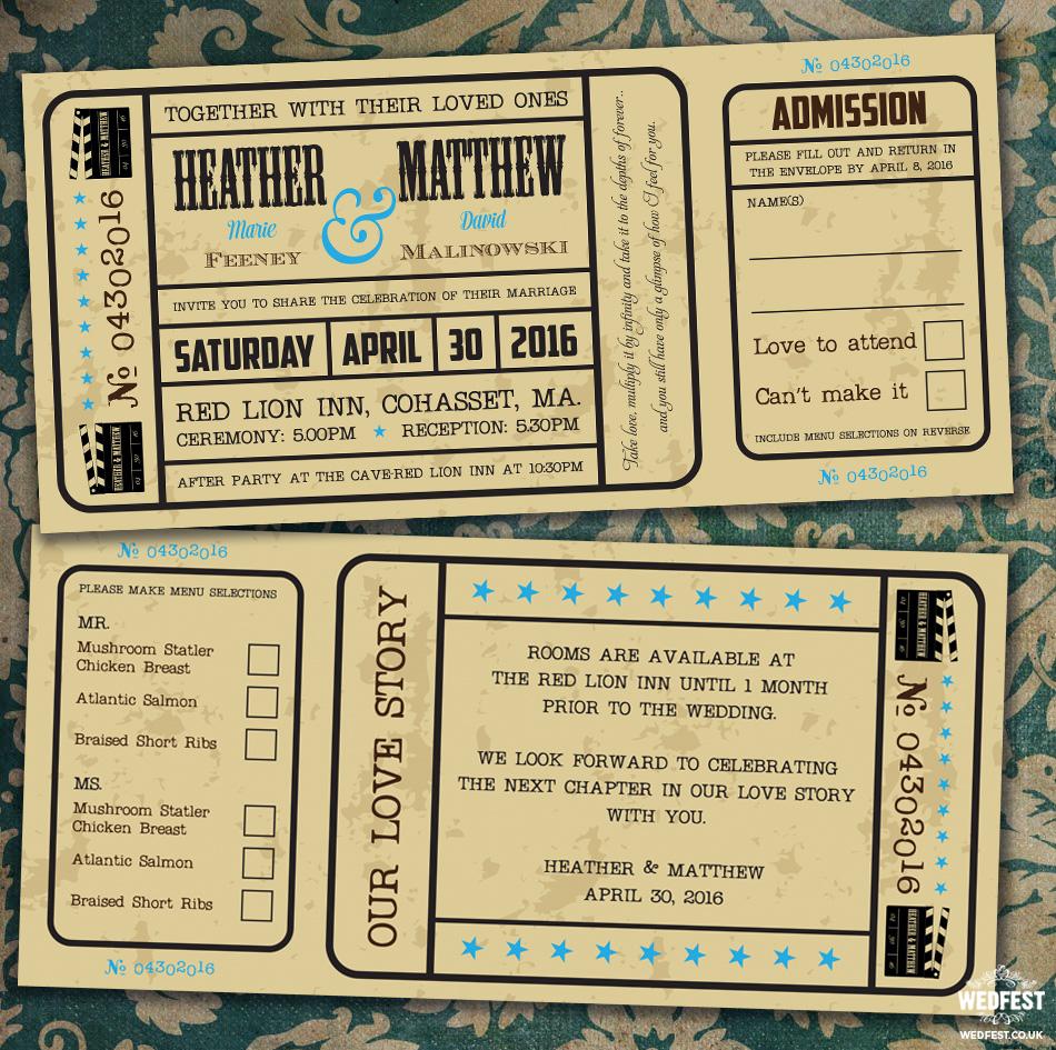 vintage movie ticket wedding invite