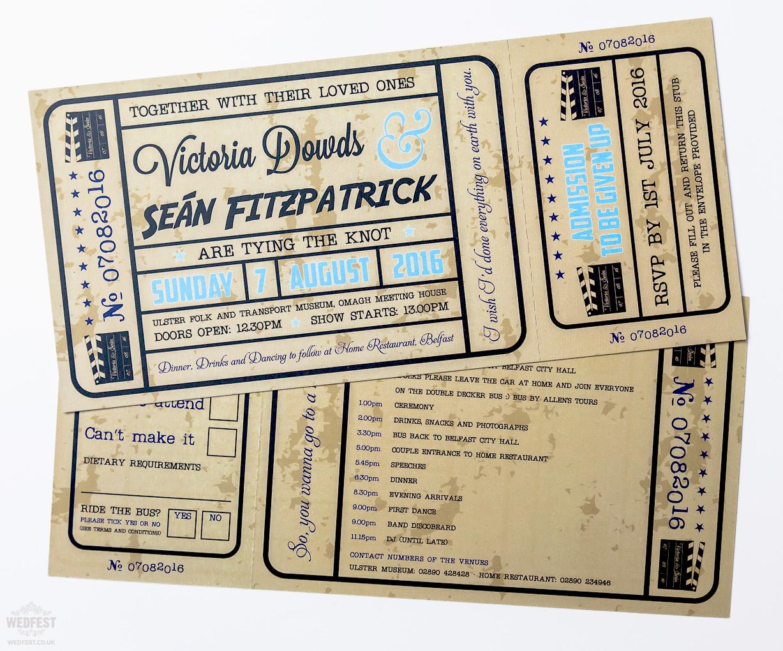 vintage style shabby chic cinema ticket wedding invite