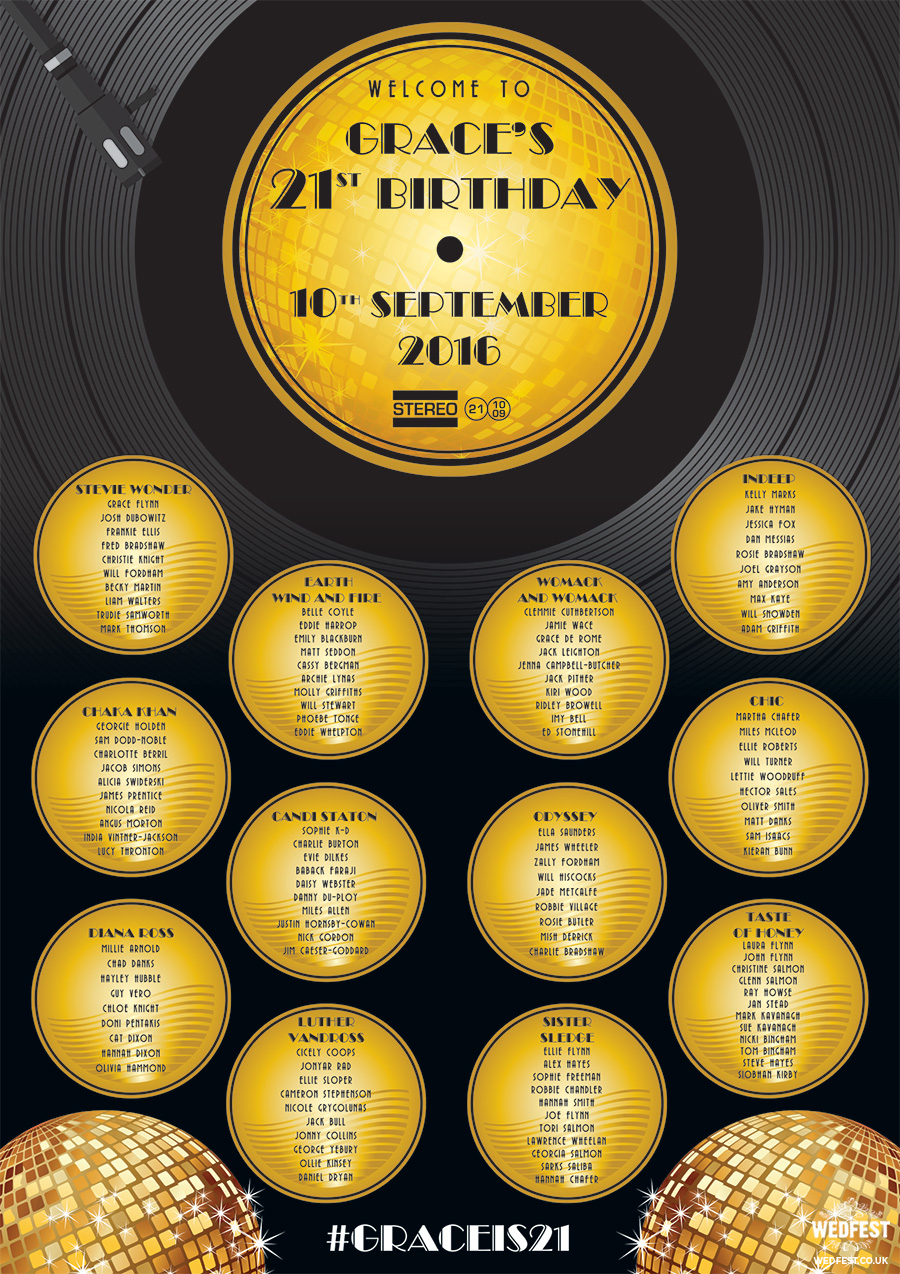 vinyl record disco themed birthday party seating plan
