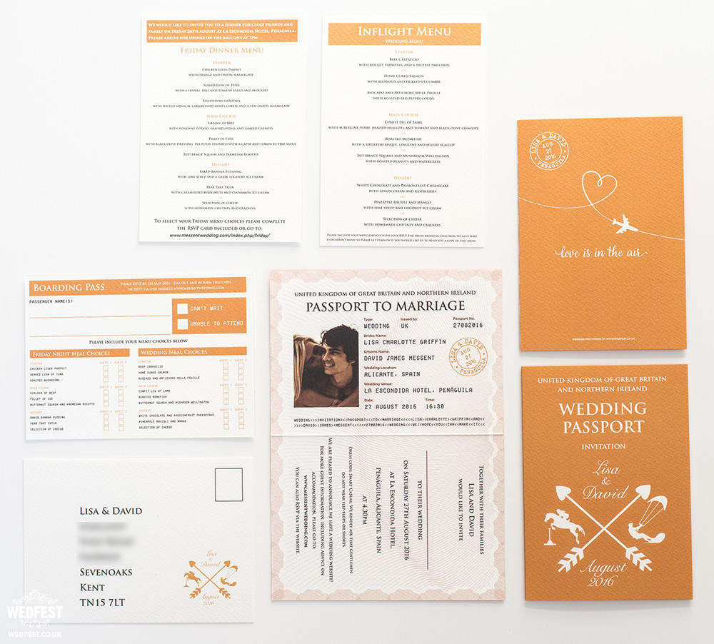 travel passport wedding stationery