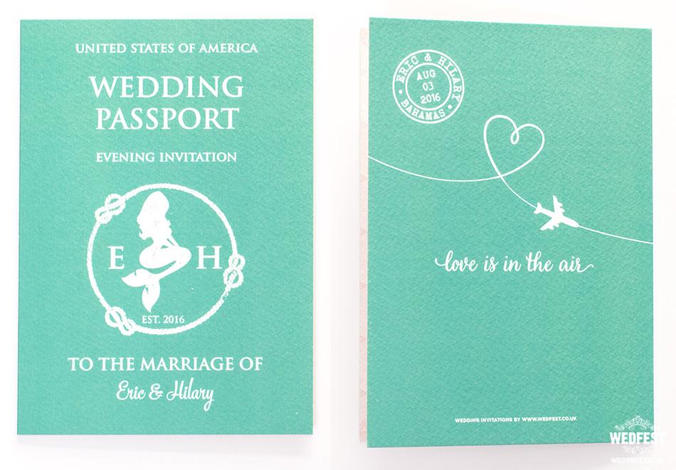united states of america passport wedding invitation