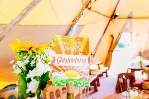 festival wedding table name cards - glastonbury festival