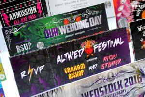 alternative festival wedding invite