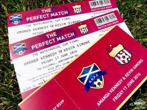 football soccer tickets wedding invites