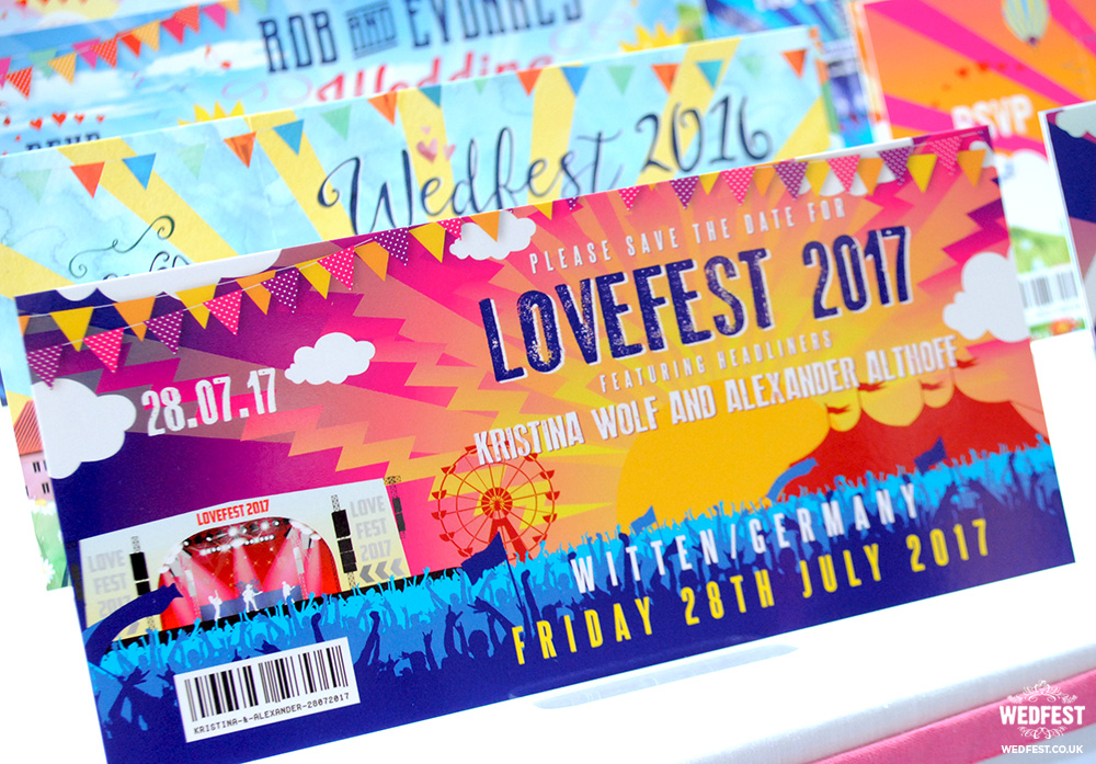 lovefest festival wedding invites