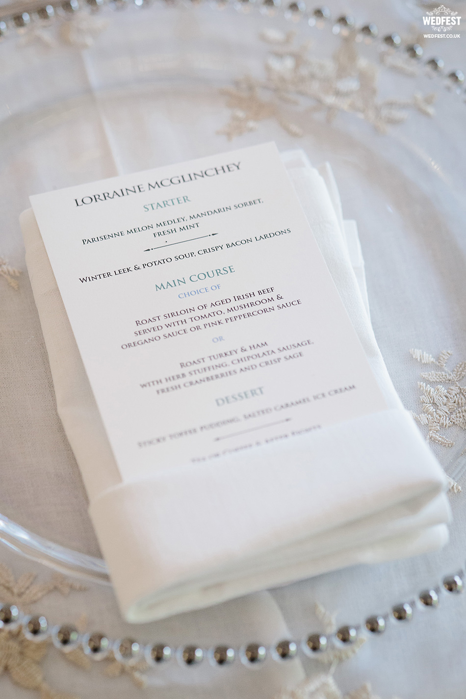 personalised wedding menus