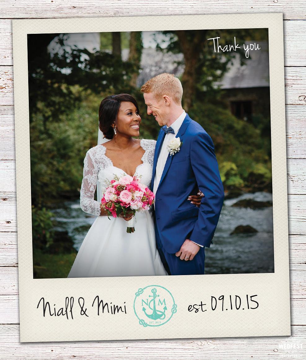 polaroid photo wedding thank you card