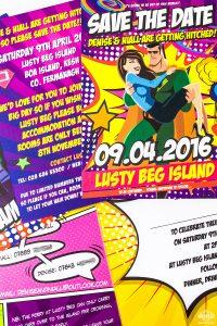 superhero wedding save the date invitation