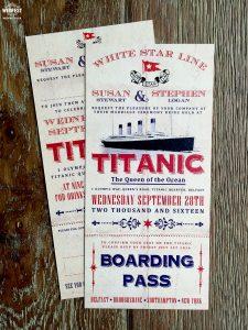 titanic ticket wedding invitation