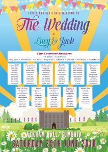askham hall cumbria festival boho wedding seating plan