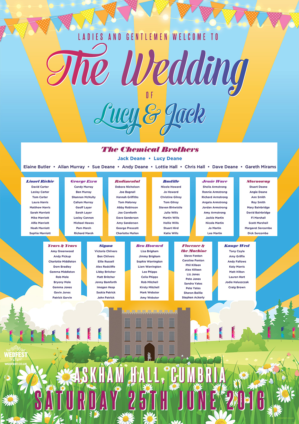 askham hall cumbria festival boho wedding seating plan