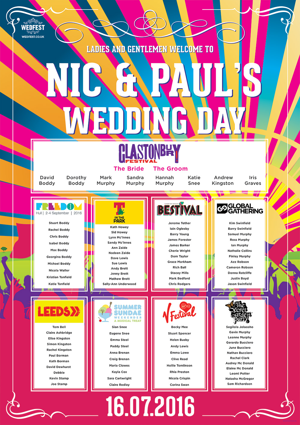 festival names wedding table chart