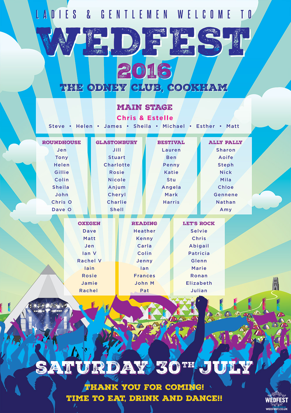 glastonbury wedfest wedding seating plan chart