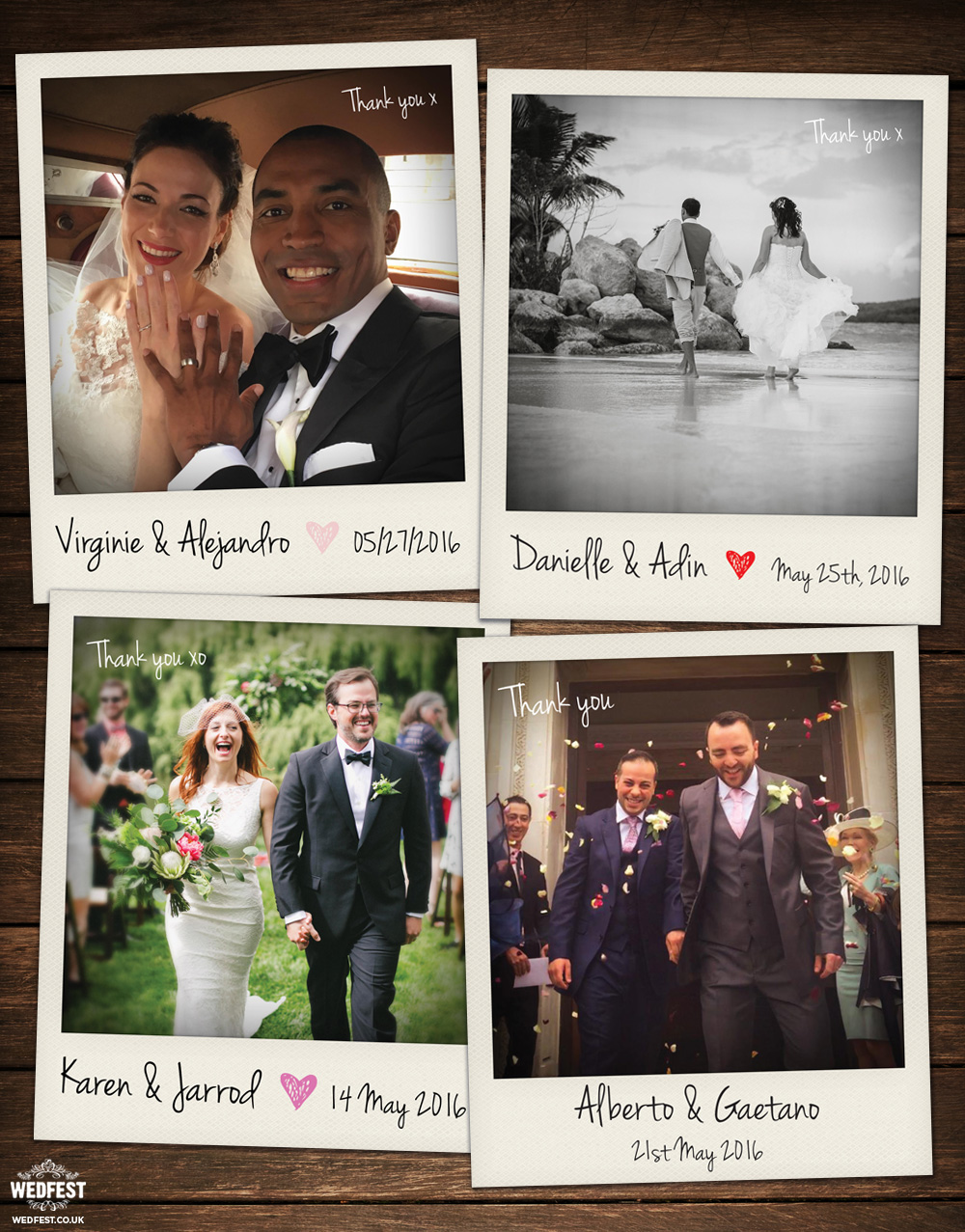 polaroid photograph wedding thank you cards