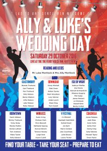The Ferry House Inn, Harty, Kent Concert Poster Wedding Seating Plan
