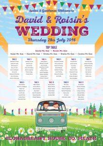 vw campervan festival wedding clonanbreany house meath seating plan