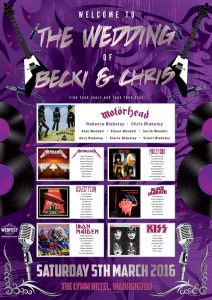 heavy metal wedding stationery table planner