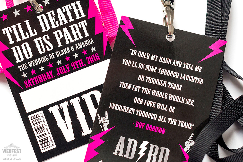 rock roll wedding vip pass
