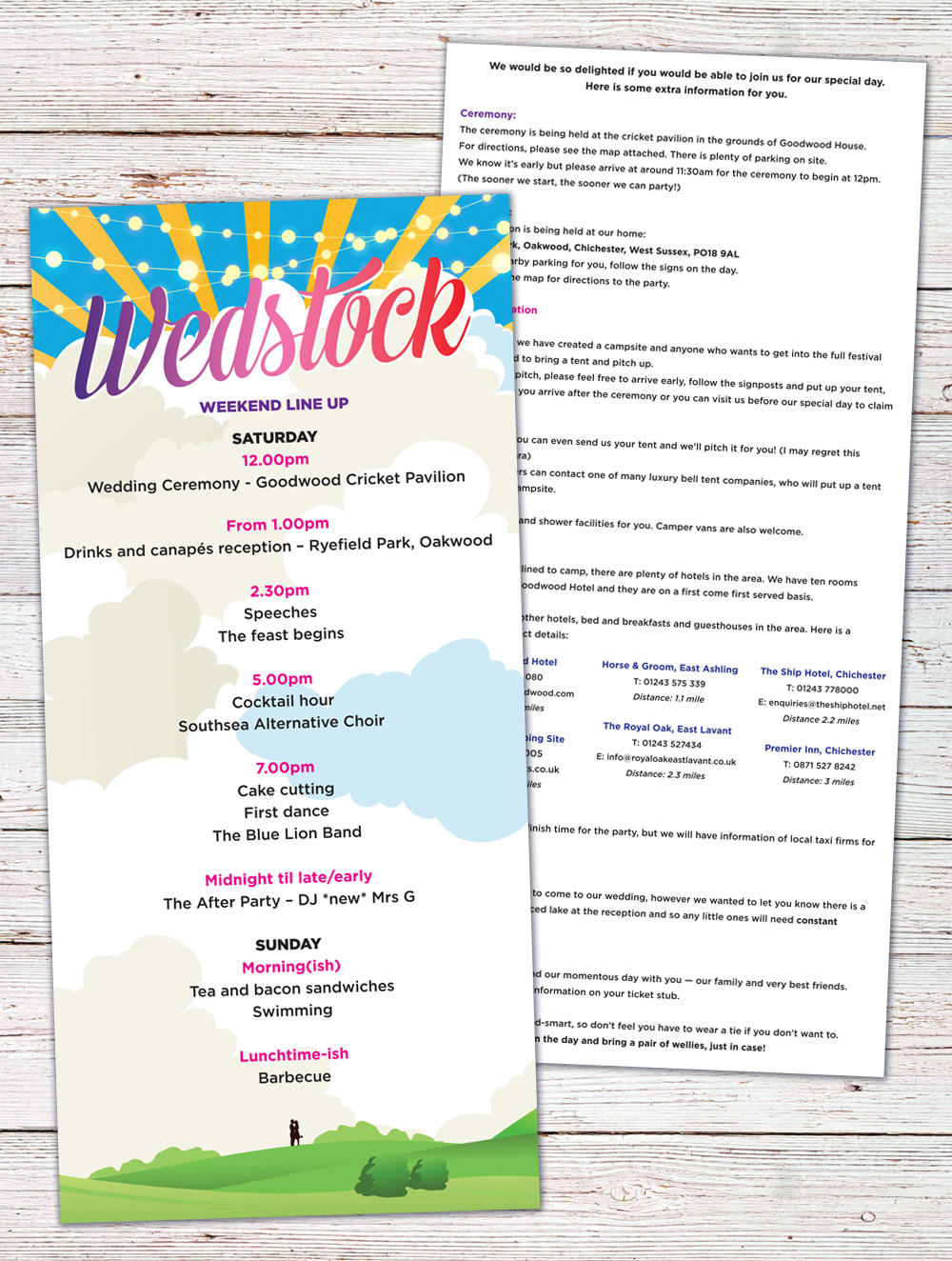 wedstock wedfest wedding invites
